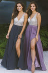 Cheap Chiffon Long Prom Dresses Side Slit V Neck Beaded Prom Dresses JS428