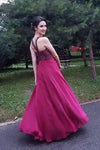 Chic A-line Halter Flowy Prom Dresses Long Beads Chiffon Sleeveless Evening Dresses uk SSM413