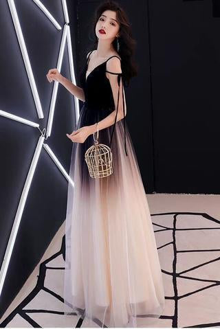 Chic Black Ombre Tulle Prom Dresses Unique V Neck Sleeveless Party Dresses Dance Dress P1045