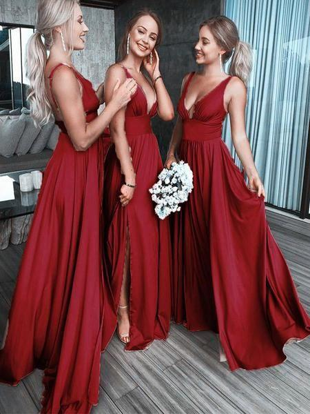 Chic Burgundy Deep V Neck Bridesmaid Dress A Line Sleeveless Backless Prom Dresses BD1009