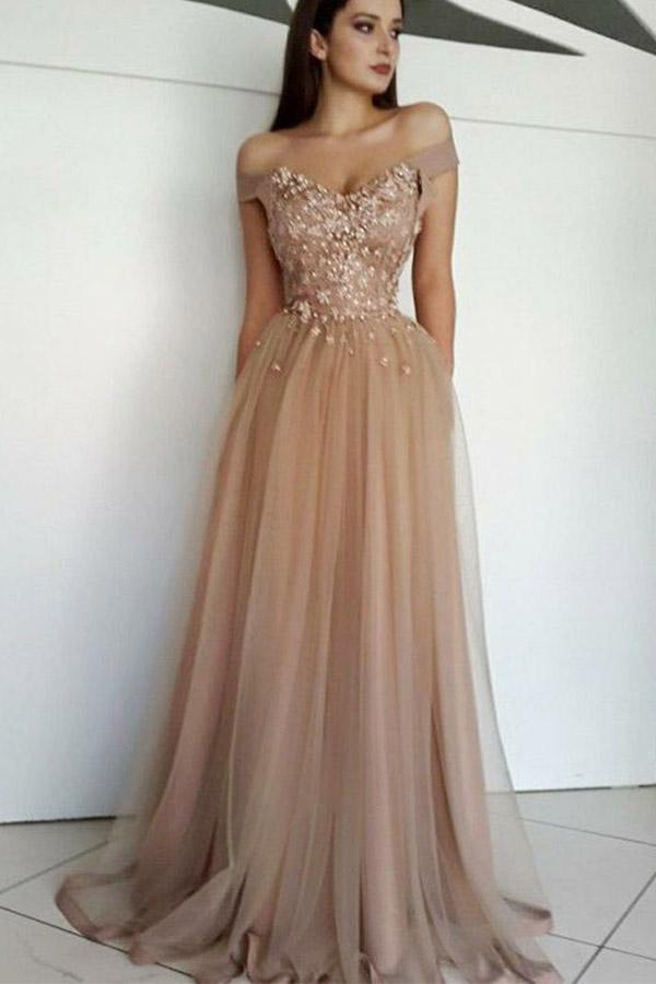 Chic Off the Shoulder Tulle Prom Dresses with Beads Long Sweetheart Evening Dress JS639