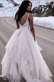Chic Straps Lace Top Backless Tulle Asymmetrical Ivory Wedding Dresses Bridal Dresses W1022