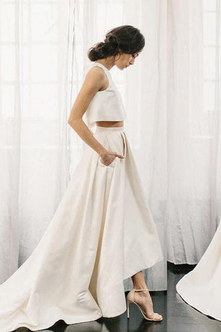 Chic Two Pieces Satin Ivory High Neck High Low Wedding Dresses with Pockets Bridal Dress W1027