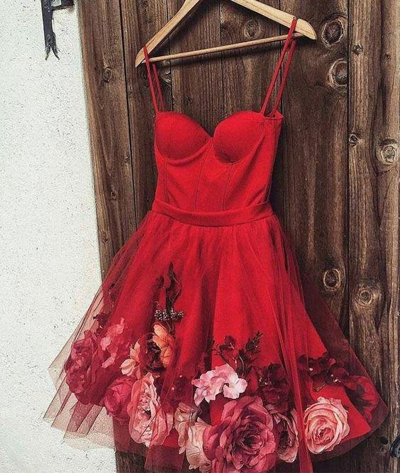 Cute A line Spaghetti Straps Sweetheart Red Tulle Homecoming Graduation Dresses H1008