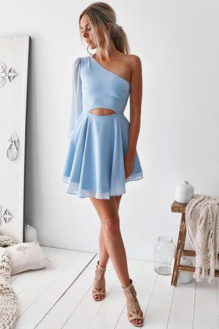 Cute Baby Blue One Shoulder Chiffon Cutout Homecoming Dresses Short Prom Dresses H1266