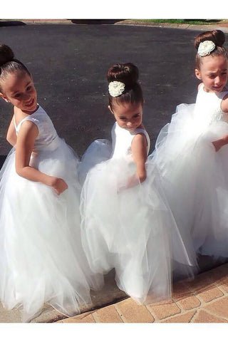 Cute Ball Gown Tulle Scoop V Back Flower Girl Dresses Wedding Party Dresses FG1000