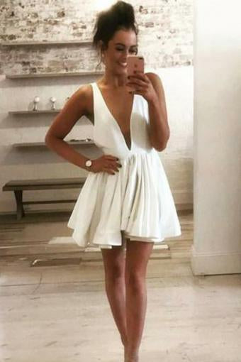 Cute Deep V Neck Satin Straps Ivory Backless Homecoming Dresses Short Prom Dresses H1264