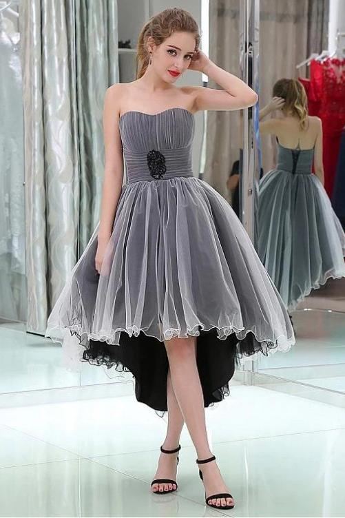 Cute Gray Ruffles High Low Strapless Tulle Homecoming Dresses with Lace up H1261
