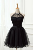 Cute Halter Black Tulle Sleeveless Beads Short Prom Dresses Homecoming Dresses P1078