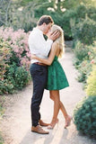Cute Lace Green Scoop Backless Short Prom Dresses Above Knee Homecoming Dresses H1181