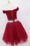 Cute Off the Shoulder Burgundy Homecoming Dresses with Tulle Short Cocktail Dresses H1088