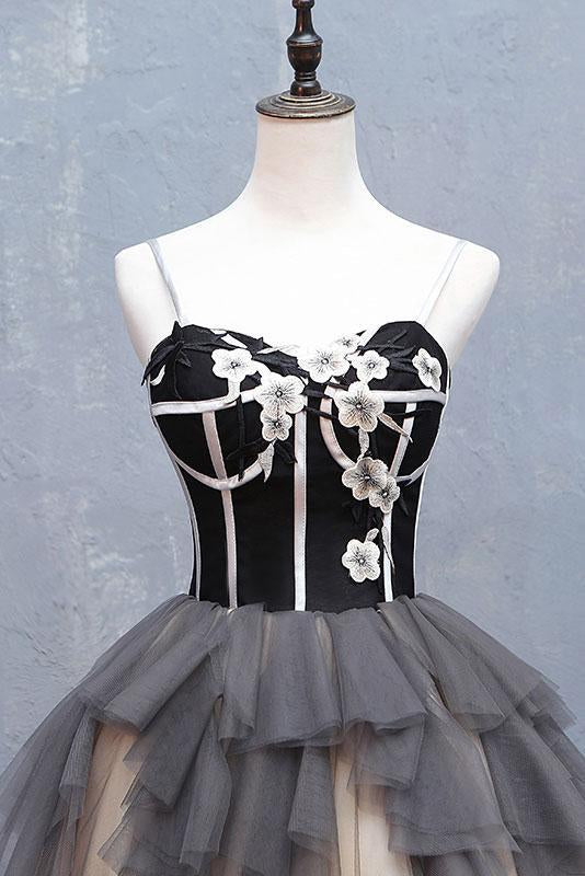 Cute Sweetheart Spaghetti Straps Tulle Short Prom Dresses Black Homecoming Dresses H1029