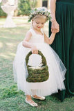 Cute Toddler Flower Girl Dresses Ivory Tulle Long Rustic Bowknot Flower Girl Dresses JS436
