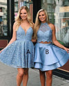 Cute V Neck Blue Short Prom Dresses Above Knee Homecoming Dress Cocktail Dresses H1062