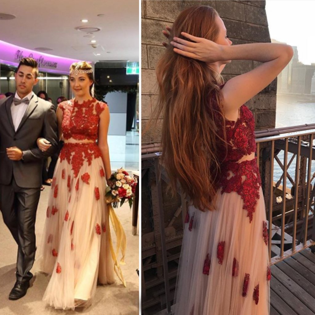 A-Line Two pieces Red Lace Tulle High Neck Cap Sleeve Applique Junior Elegant Prom Dresses JS241