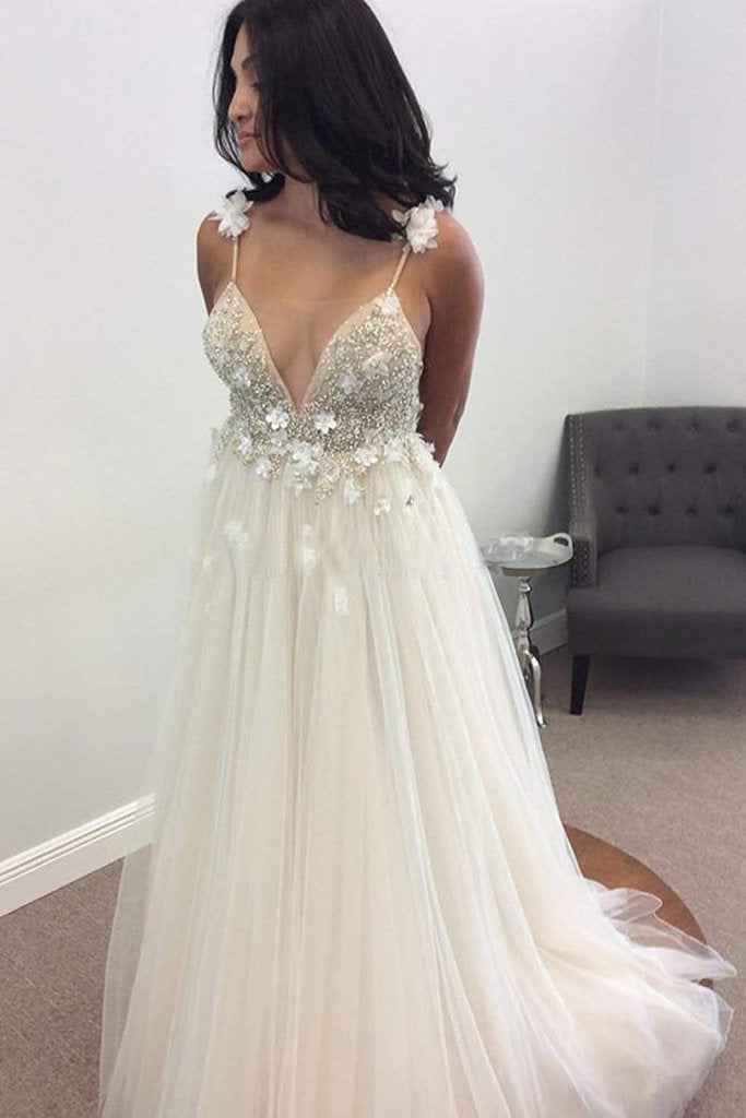 Deep V Neck Beads Prom Dresses Straps Tulle Appliques A-line Beach Wedding Dress JS667