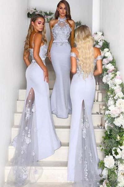 Different Styles Mermaid Off the Shoulder Purple Bridesmaid Dresses Wedding Party Dress BD1014
