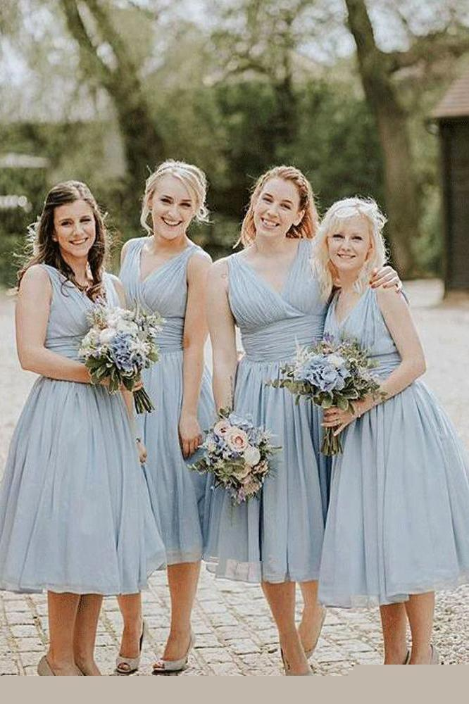 Dusty Blue V Neck Chiffon Short Cheap Ruffles Bridesmaid Dresses Short Prom Dresses JS960