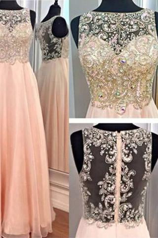 A-Line Blush Pink Sexy Chiffon Cheap Scoop Sleeveless Beads Zipper Prom Dresses SSM970