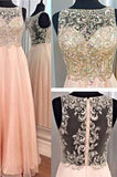 A-Line Blush Pink Sexy Chiffon Cheap Scoop Sleeveless Beads Zipper Prom Dresses JS970