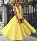 A-Line Deep V-Neck Cute Yellow Tea Length Sleeveless Open Back Lace Prom Dresses UK JS475