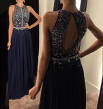 Elegant Chiffon Prom Dresses Navy Blue Long Evening Gowns with Beading Prom Gown JS128