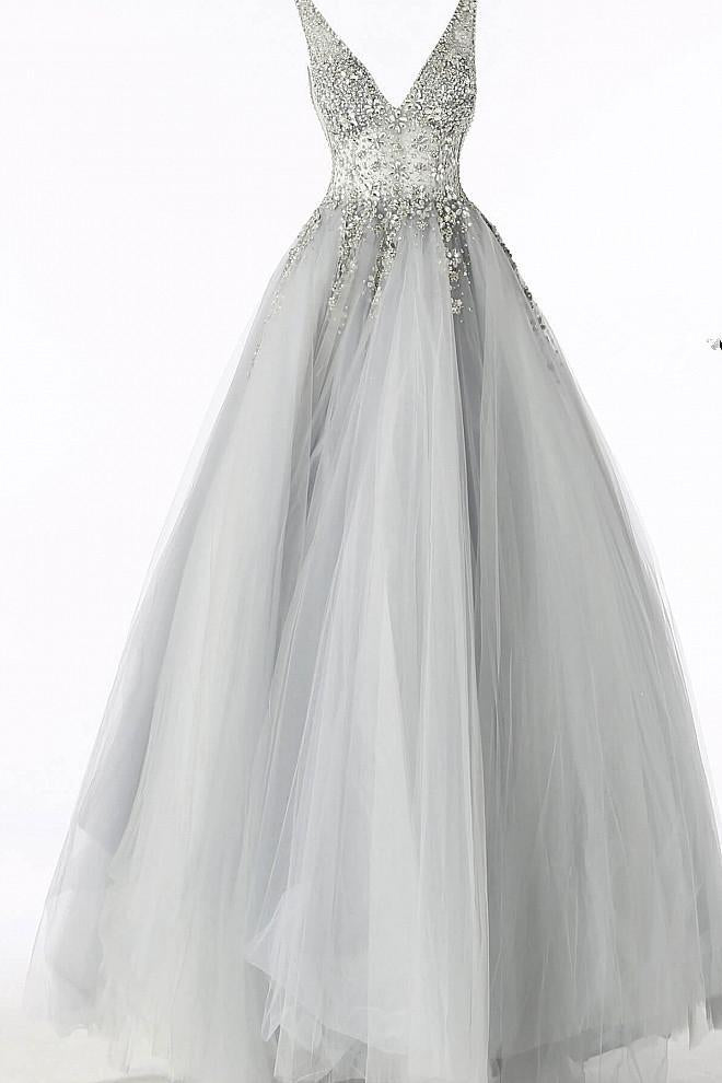 Elegant A Line Grey Long Prom Dress with Silver Appliques Tulle V Neck Party Dresses JS611