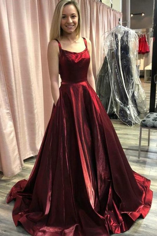 Elegant A Line Spaghetti Straps Backless Burgundy Satin Prom Dresses with Pocket JS980
