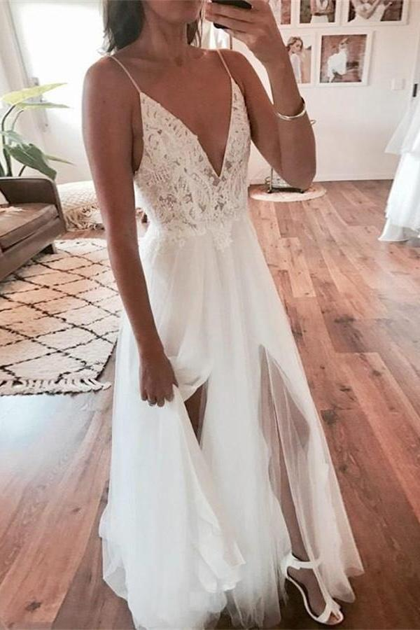 Elegant A Line V Neck Ivory Spaghetti Straps Lace Slit Wedding Gowns with Beads W1020