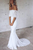 Elegant Mermaid Off the Shoulder Half Sleeve White Lace Beach Wedding Dresses JS779