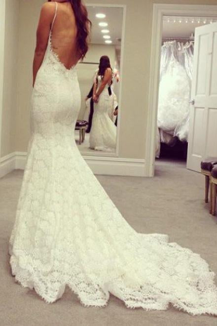 Elegant Mermaid Sweetheart Lace Court Train Wedding Dress with Spaghetti Straps JS422