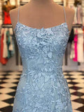 Elegant Spaghetti Straps Sky Blue Mermaid Backless Scoop Pageant Prom Dresses JS93