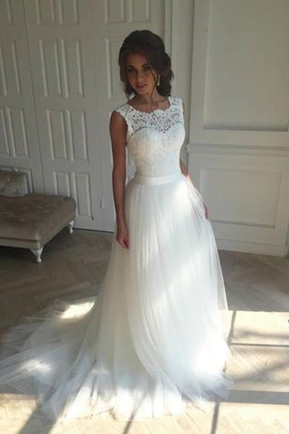 Charming white tulle lace round neck wedding dresses JS153