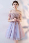 A Line Off the Shoulder Short Sleeve Lace Appliques Tulle Short Homecoming Dresses JS02