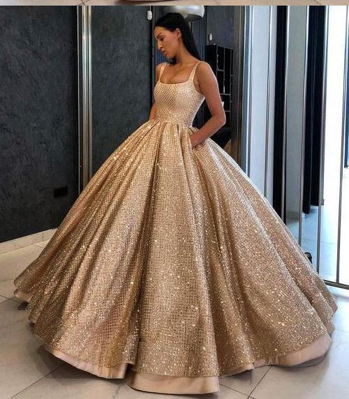 Ball Gown Prom Dress with Pockets Beads Sequins Floor-Length Gold Quinceanera Dresses SSM724