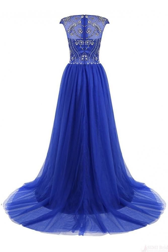 A-Line Floor-length Gorgeous Beading Bodice Long Tulle Prom Dresses Evening Dresses JS93