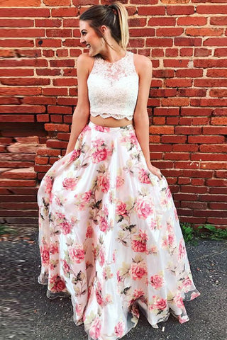 Two Piece High Neck Floral Long Lace A Line Sleeveless Graduation Prom Dresses UK JS571