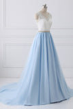 A-Line V-Neck Lace Top Sky Blue Skirt Cheap Sweetheart Tulle Satin Prom Dresses with Sash JS156