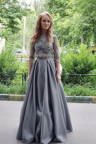 New Arrival Two-Piece A-Line Gray Lace Long Prom/Evening Dress SSM420