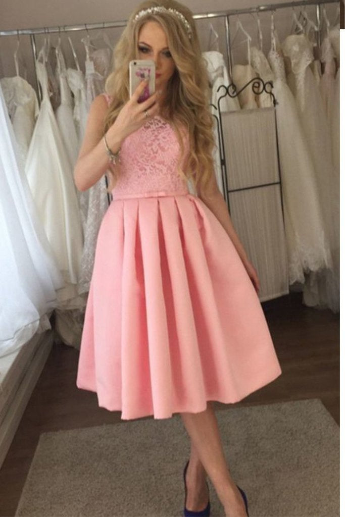 Charming Lace A-line Cute Satin Pink Tea Length Appliques Homecoming Dresses SSM861