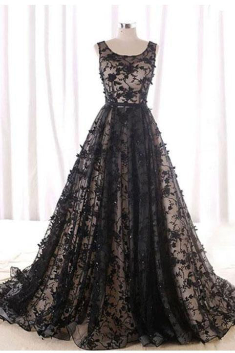 Black Round Neck Tulle Long Beads Lace A-Line Lace up Sleeveless Prom Dresses UK JS396