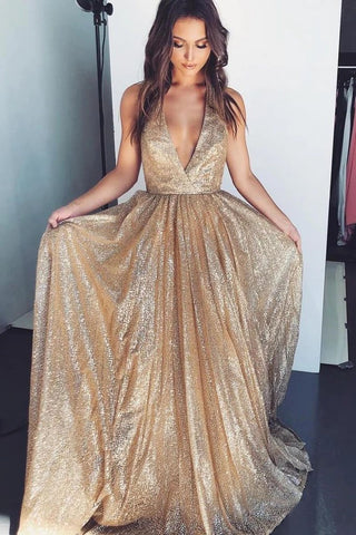 Gold Deep V-neck Prom Dresses Tulle Formal Dresses Long Cheap Evening Dresses P1117