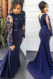Mermaid Lace Scoop Navy Blue Beads High Neck Long Sleeve Plus Size Prom Dresses JS161