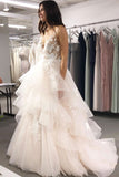 A Line V Neck Tulle Long Prom Dresses Asymmetrical Lace Appliques Party Dresses JS225