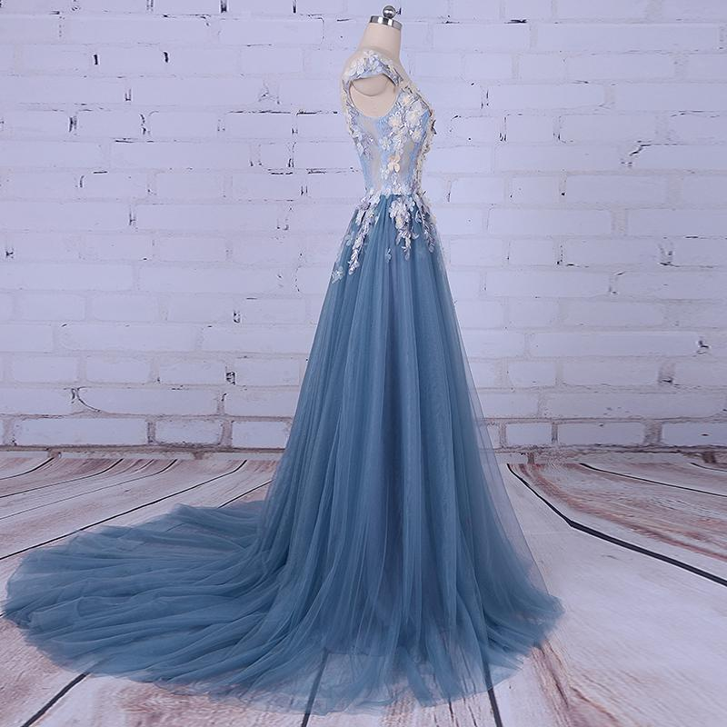 Beautiful Appliques V-Neck Tulle Beads Cap Sleeve Scoop A-line Long Evening Dresses JS861