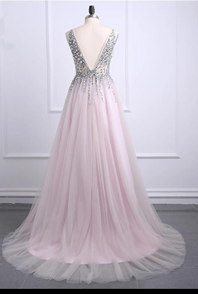 A line Tulle Blush Pink Prom Dresses with Beaded Sequins V Neck Bodice JS653