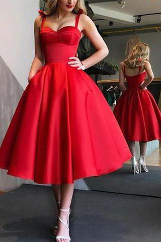 A-Line Spaghetti Straps Tea-Length Red Satin Prom Homecoming Dresses with Pockets SSM86