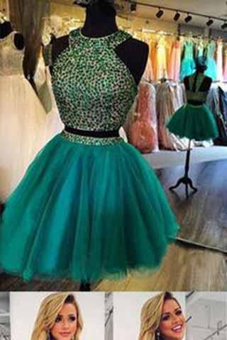 Green Chiffon Prom Dresses Chiffon Backless Open Back Halter Sleeveless Prom Gown JS906