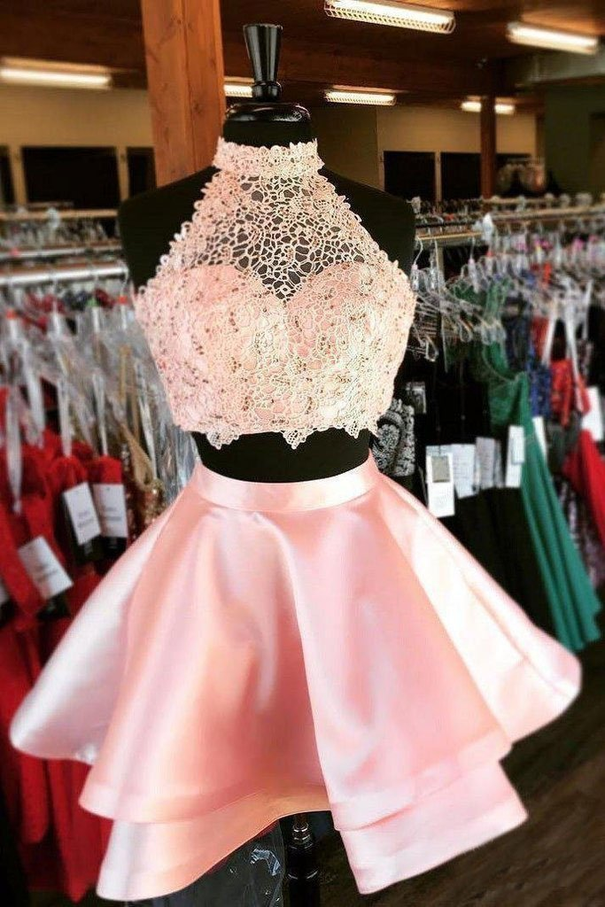 Halter 2 Piece Pink Satin Homecoming Dresses with Lace Mini Short Prom Dresses H1023