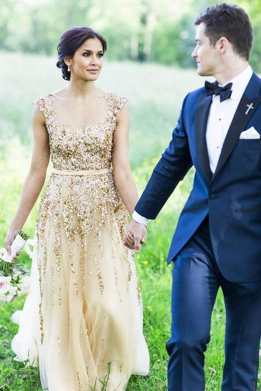 Illusion Neck Beading Long Gold Wedding Dress with Sheer Back Long Prom Dresses JS936